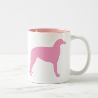 Borzoi Dog (pink) Two-Tone Coffee Mug