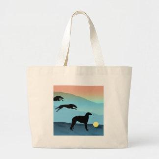 Borzoi Dogs Chasing Ball Large Tote Bag