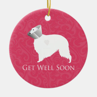 Borzoi Get Well Soon Design Christmas Tree Ornament