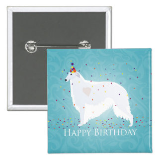 Borzoi Happy Birthday Design Pinback Button