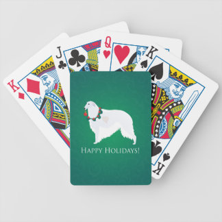 Borzoi Happy Holidays Design Bicycle Playing Cards