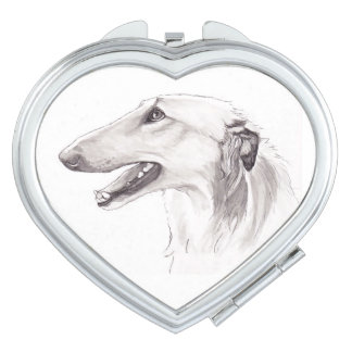 Borzoi Head Profile In Drawing Heart Compact Mirror For Makeup