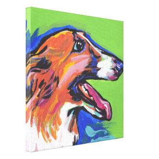 Borzoi Hound Pop Dog Art on Wrapped Canvas