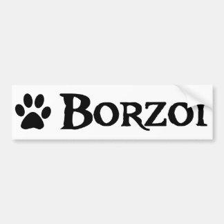 Borzoi (pirate style w/ pawprint) car bumper sticker