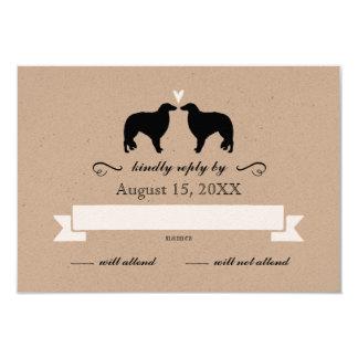 Borzoi Silhouettes Wedding RSVP Card
