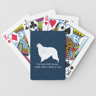Borzoi Thinking of You Design Bicycle Playing Cards