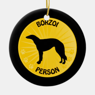 Borzoi Xing Double-Sided Ceramic Round Christmas Ornament