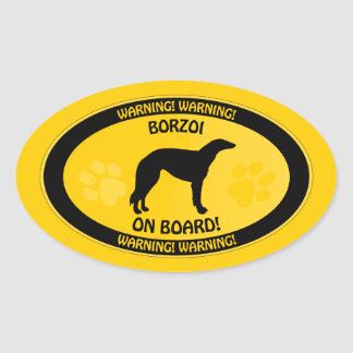Borzoi Xing Oval Sticker