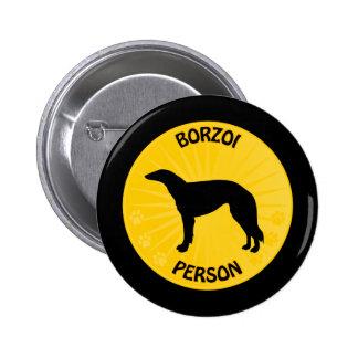 Borzoi Xing Pinback Button