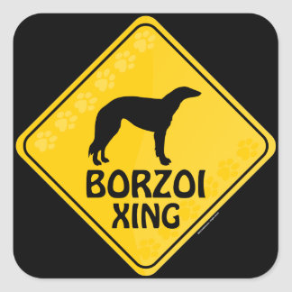 Borzoi Xing Square Sticker