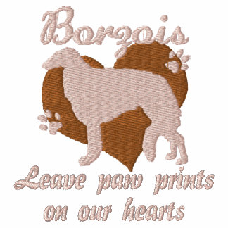 Borzois Leave Paw Prints Embroidered T-Shirt