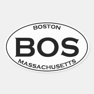 BOS - Boston Massachusetts Oval Logo Oval Sticker
