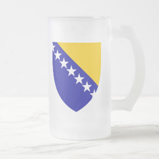 Bosnia And Herzegovina Coat Of Arms Frosted Glass Beer Mug