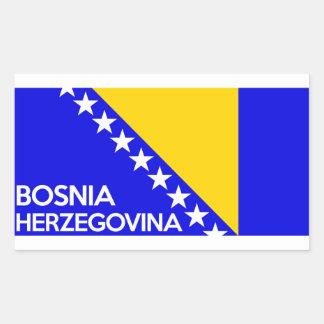 Bosnia and Herzegovina country flag name text Rectangular Sticker