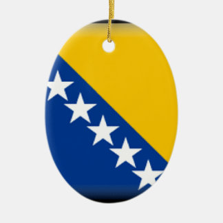 Bosnia and Herzegovina Flag Double-Sided Oval Ceramic Christmas Ornament
