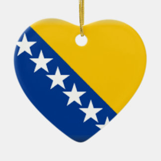 Bosnia and Herzegovina Flag Double-Sided Heart Ceramic Christmas Ornament