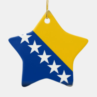 Bosnia and Herzegovina Flag Double-Sided Star Ceramic Christmas Ornament