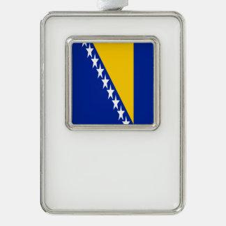 Bosnia and Herzegovina Flag Silver Plated Framed Ornament