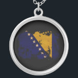 """Bosnia and Herzegovina Flag Silver Plated Necklace<br><div class=""""desc"""">Original flag design looks like it was painted on! Commemorate your world travels, celebrate your heritage or show everyone how much you love your home! This image is available on a variety of products. Check out all of our other designs at http://www.zazzle.com/zipperedflags Do you have a request or questions? Contact...</div>"""