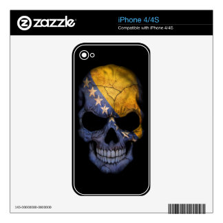 Bosnia and Herzegovina Flag Skull on Black Decals For The iPhone 4S
