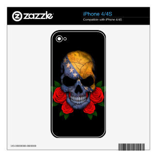 Bosnia and Herzegovina Flag Skull with Red Roses Decals For The iPhone 4