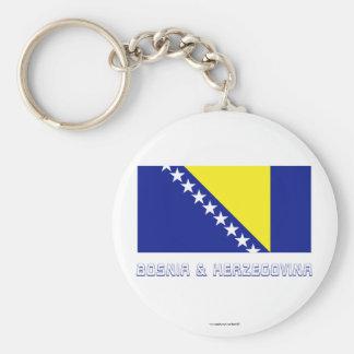 Bosnia and Herzegovina Flag with Name Basic Round Button Keychain