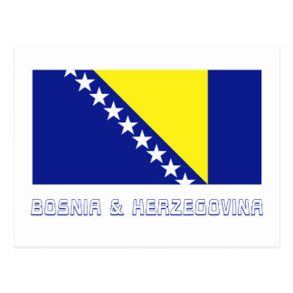 Bosnia and Herzegovina Flag with Name Post Cards