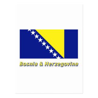 Bosnia and Herzegovina Flag with Name Postcard