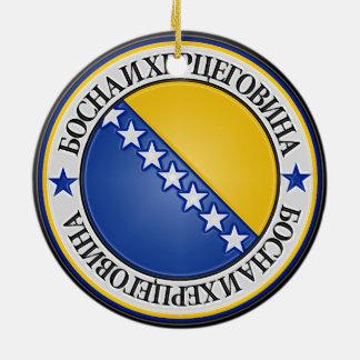 Bosnia and Herzegovina Round Emblem Ceramic Ornament