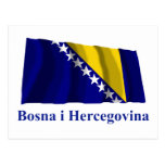 Bosnia and Herzegovina Waving Flag Name in Bosnian Post Card