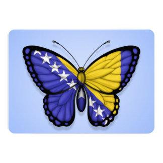 Bosnia Herzegovina Butterfly Flag on Blue Card