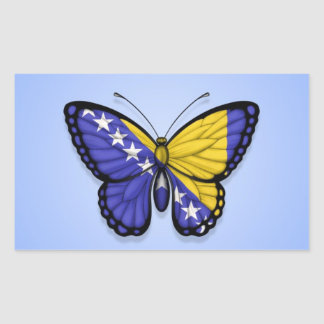 Bosnia Herzegovina Butterfly Flag on Blue Rectangular Sticker
