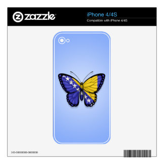 Bosnia Herzegovina Butterfly Flag on Blue iPhone 4S Decals