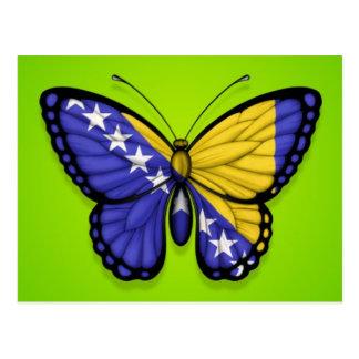 Bosnia Herzegovina Butterfly Flag on Green Postcard