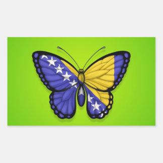 Bosnia Herzegovina Butterfly Flag on Green Rectangular Sticker