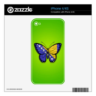 Bosnia Herzegovina Butterfly Flag on Green Decal For iPhone 4