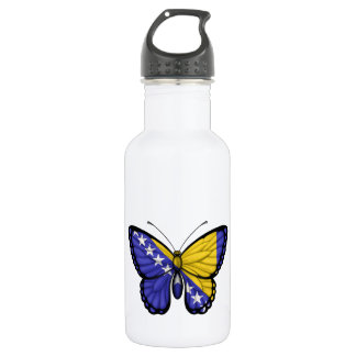 Bosnia Herzegovina Butterfly Flag Water Bottle