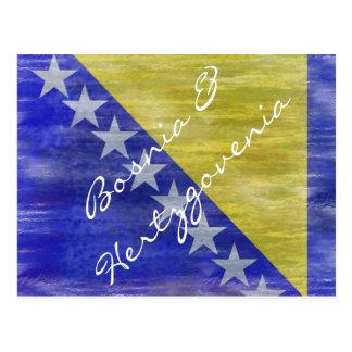 Bosnia & Herzegovina distressed flag Postcard