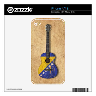 Bosnia-Herzegovina Flag Acoustic Guitar Decals For The iPhone 4S