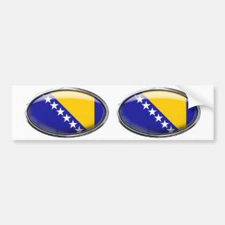 Bosnia Herzegovina Flag Glass Oval Bumper Sticker