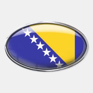 Bosnia Herzegovina Flag Glass Oval Oval Sticker