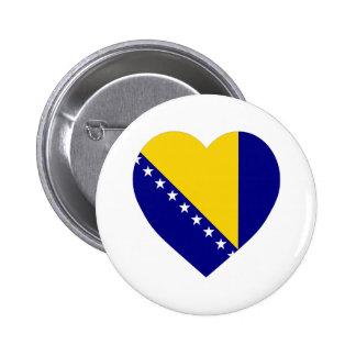 Bosnia Herzegovina Flag Heart Pinback Button