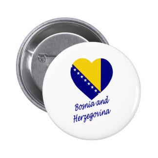 Bosnia Herzegovina Flag Heart Pins