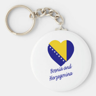 Bosnia & Herzegovina Flag Heart Keychain