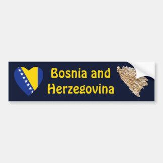 Bosnia Herzegovina Flag Heart + Map Bumper Sticker