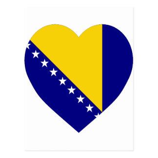 Bosnia & Herzegovina Flag Heart Postcard