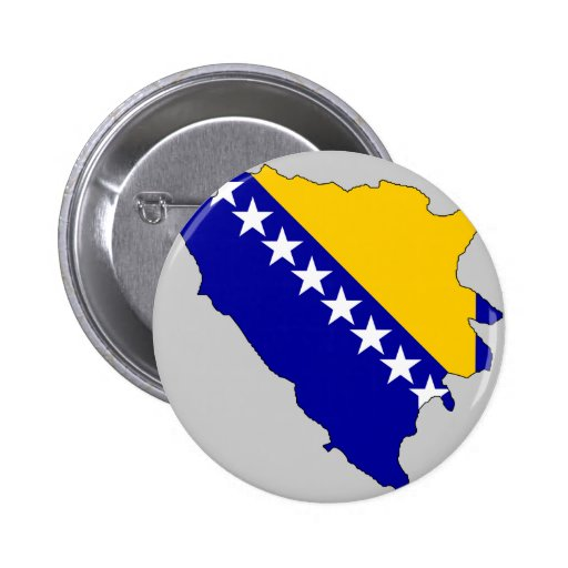 Bosnia Herzegovina flag map 2 Inch Round Button