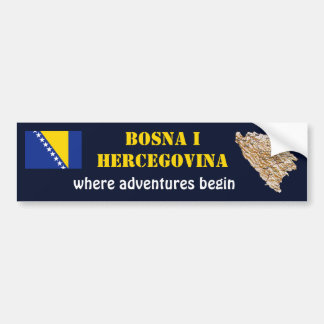Bosnia Herzegovina Flag + Map Bumper Sticker