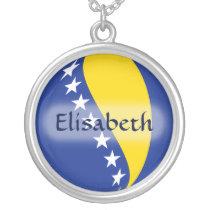 Bosnia Herzegovina Flag   Name Necklace