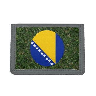 Bosnia Herzegovina Flag on Grass Trifold Wallets